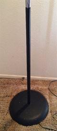 chrome  floor lamp has heavy iron base