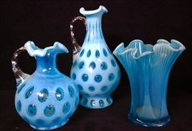 Fenton Blue Glass reverse coin opaque