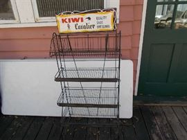 """KIWI Cavalier Quality Shoe Dressing Wire Store Display - 4 graduated shelves from top to bottom - 52"""" Tall; 24"""" Wide"""
