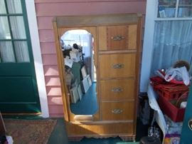 VINTAGE Chiffarobe - 4 Drawers on Right; Full Length Mirror Door (opens for hanging space) on Left