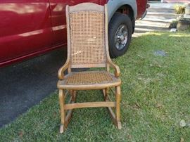VINTAGE Lincoln Rocker - Cane Bottom/Cane Back - Pam & I have had this rocker for 40+ years - we decided NOT to take it to North Carolina - GREAT piece!!!!!