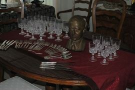 Great Stemware and a Bronze Bust