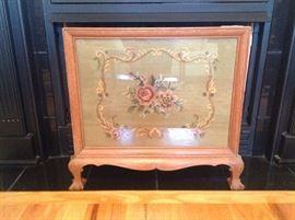 Needlepoint fireplace screen