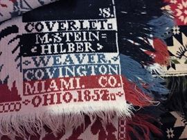 Antique Pre Civil War Jacquard Coverlet   Prominent Ohio Weaver M. Steinhilber Miami  Ohio 1852  One of his Coverlets is in Williamsburg in  Virginia