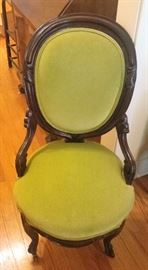 Victorian chair in lime green