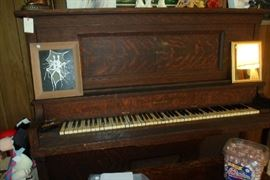 oak vintage upright piano w/stool, have old sheet music too
