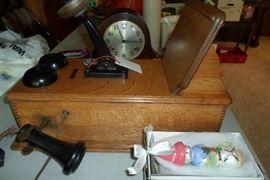 vintage oak wall phone