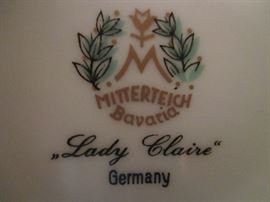 "Mitterteich Bavaria china - ""Lady Claire"" pattern"