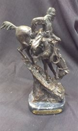 "FREDERIC REMINGTON ""Mountain Man"" Bronze hotcast, w marble base & plaque (ALL our bronzes are HOTCAST/LOST WAX PROCESS, we do NOT have any cold/cast resin)"
