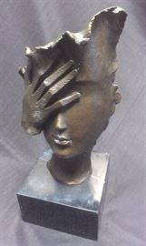 """SALVADOR DALI """"Shame on Me"""" bronze hotcast, marble base, signed..."""
