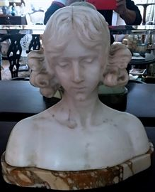 Carved Marble Lady Bust