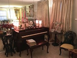 Everett Spinet Piano and Bench, Sheet Music, Carved Pedestal w/ Marble Inset, Antique, Hand Painted Side Chair and Table with inlaid Mother of Pearl  Detailing.