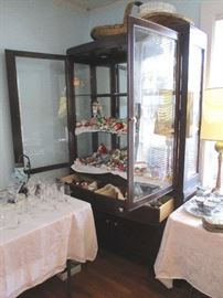 """China cabinet filled with """"papa's glass ornaments"""".  Beautiful German Glass Ornaments."""