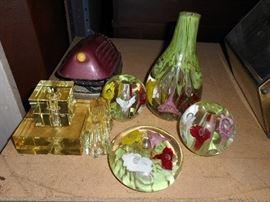vintage art glass lamp parts. St Clair like floral designs