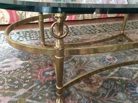 Detail of Lion Head Brass Coffee table legs, by LaBarge