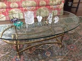 La Barge, Glass & Brass Coffee table, Some of the Waterford Crystal items