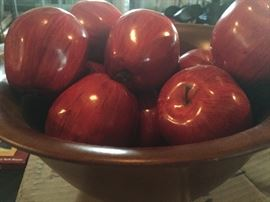 Wood bowl of wood apples $20.00 Buy It Now PayPal Lot#08