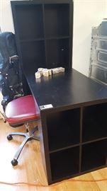 Shelved desk Red office chair