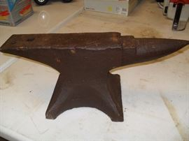 "Marked ""Smiths"" and ""0-2-23"" Nice Anvil ...Also a post vice and Champion Blower"