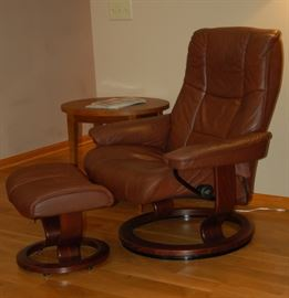 Ekornes Leather Recliner and Ottoman