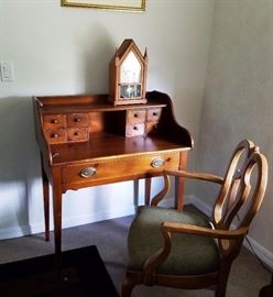 Small Wood Desk and Wood chair