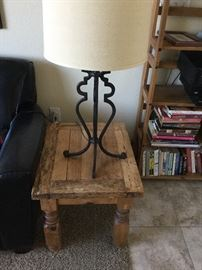 Rustic oak side table, drum shade wrought iron lamp