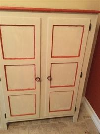 "Shabby chic, painted pie safe.  3'w x 4'h x 13""d, cream and Indian Summer red"