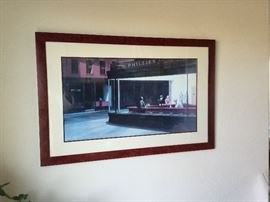 Well-known, custom framed Hopper print