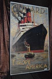 POSTER, CUNARD EUROPE AMERICA, ODIN ROSENVINGE (1880-1957) CUNARD / AQUITANIA. 1914