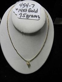 14kt Gold Necklace w/Pacifier Pendant