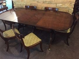 "Duncan Phyfe Style Table with 6 chairs. Overall length with 3 leaves is 96""L x 42""W. Minimum length with all leaves & drop down end pieces is 28""L"