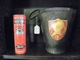 Antique Leather Fire Bucket & Extinguisher