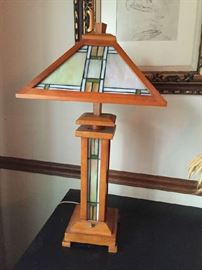 Handcrafted oak and stained glass lamp