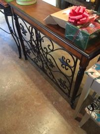 Wood & Wrought Iron Sofa Table