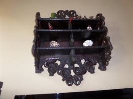 ANTIQUE BLACK FOREST MEDICINE SHELF(ROUGHLY 3' X 5'- IT'S LARGER THAN IT APPEARS IN THE PIC. IT ACTUALLY FOLDS UP!