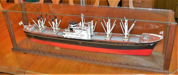 Japanese Trawler Ship Model in Glass Case