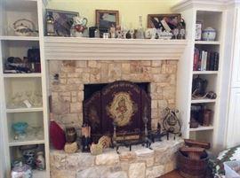 Framed crazy quilt pieces, transfer ware, Crystal, lanterns, books