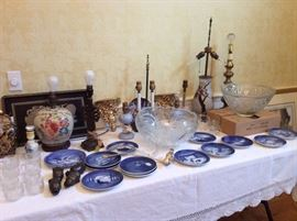 Vintage royal Copenhagen holiday plates, lamps, punch bowls, old curtain rod finials