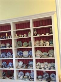Asian, blue willow, majolica, porcelain, silver, old baby dishes, Imari, lustreware