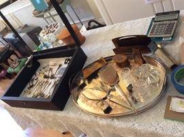Sterling smalls, dresser set, Waterford napkin rings