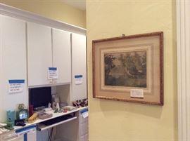 Art, clock, office supplies
