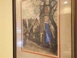 One of many vintage & antique watercolor a, oils & prints