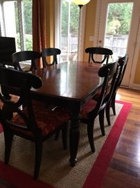 Cherry and black kitchen table with chairs