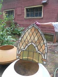 Stained glass window, 2 fiberglass planters made by artist Paul Gonzalez