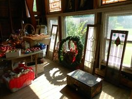 Selection of stained glass windows and Christmas