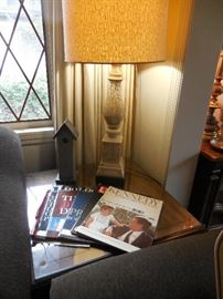 Lane Furniture Hand carved Occasional Table Glass Top, Ceramic Lamp, Vintage Magazines