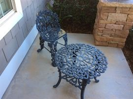 Wrought iron chair and small table