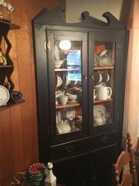 Pair black pine corner cabinets