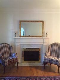 Pair of wing back chairs by Hickory Chair Co.