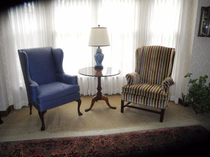 Upholstered wing back chairs by Hickory Chair